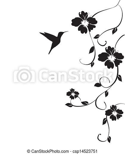 Mirlo y flores - csp14523751