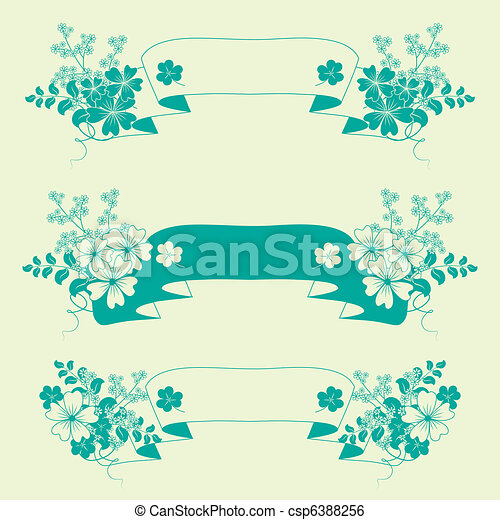 Flores de jardín y estandartes de hierbas. - csp6388256