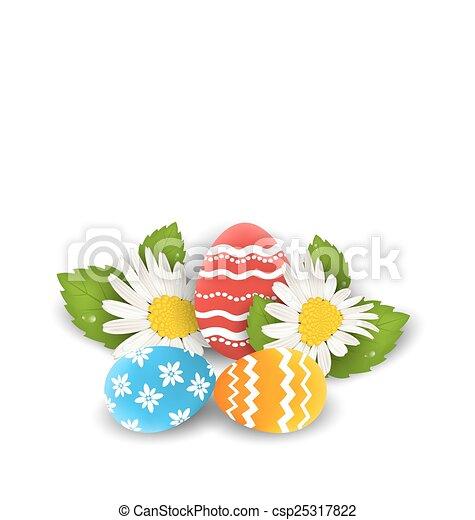 Huevos coloridos tradicionales con leguas de flores para Pascua, copia espacio para tu texto - csp25317822