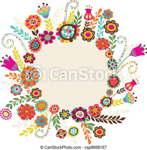 Una tarjeta de felicitación con flores - csp8668167