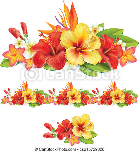 Garland de flores tropicales - csp15729328