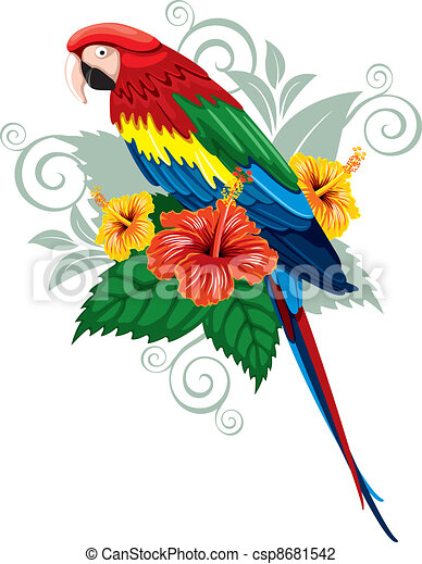 Flores tropicales y loro - csp8681542