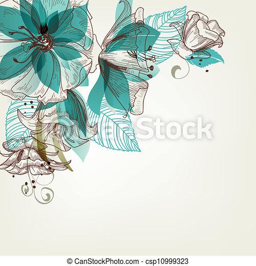 Retro flores ilustración vectorial - csp10999323
