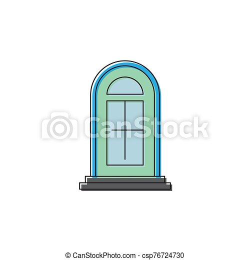 fondo blanco, aislado, icono, símbolo, puerta, arco, vector - csp76724730