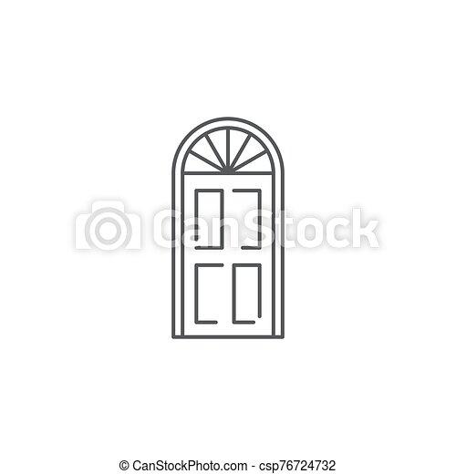 fondo blanco, aislado, icono, símbolo, puerta, arco, vector - csp76724732
