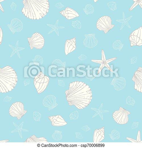 Patrón de conchas sin costura. Vector de vieiras de fondo. - csp70006899