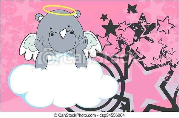 Fondo de dibujos de Cherub Rhino - csp34556064