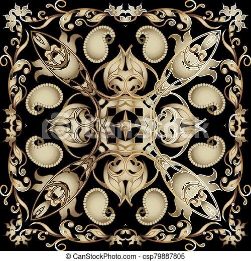 fondo., pattern., diseño decorativo, telón de fondo., tribal, flores, seamless, estilo, vendimia, fronteras, ornamental, étnico, floral, vector, hermoso, repetición, ornamento, cachemira, frame., leaves., florido, oriental - csp79887805