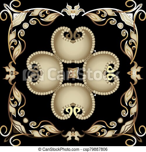 fondo., pattern., diseño decorativo, telón de fondo., tribal, flores, seamless, estilo, vendimia, fronteras, ornamental, étnico, floral, vector, hermoso, repetición, ornamento, cachemira, frame., leaves., florido, oriental - csp79887806
