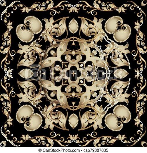 fondo., pattern., diseño decorativo, telón de fondo., tribal, flores, seamless, estilo, vendimia, fronteras, ornamental, étnico, floral, vector, hermoso, repetición, ornamento, cachemira, frame., leaves., florido, oriental - csp79887835