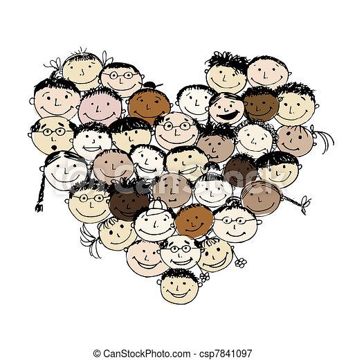Gente feliz, forma de corazón para tu diseño - csp7841097