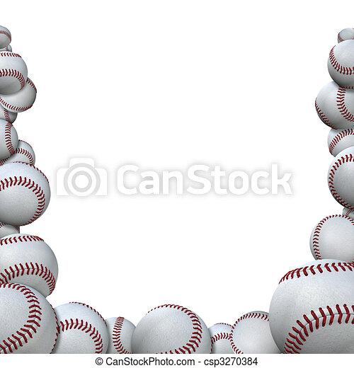 Muchas bolas de béisbol forman la frontera deportiva de la temporada de béisbol - csp3270384