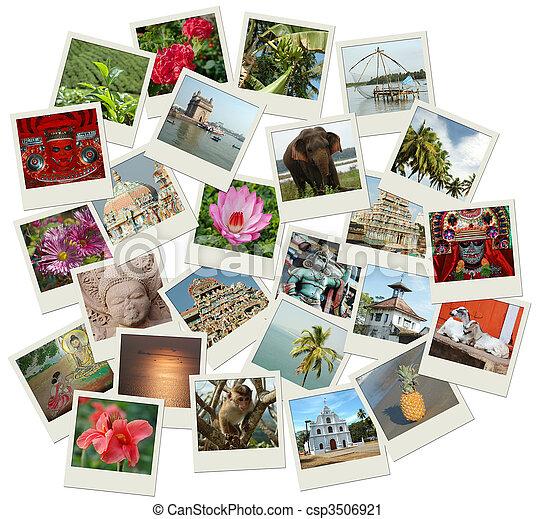 Un montón de fotos con marcas del sur de la India - csp3506921