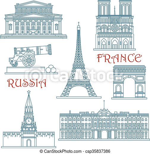 La línea delgada de Rusia y Francia - csp35837386