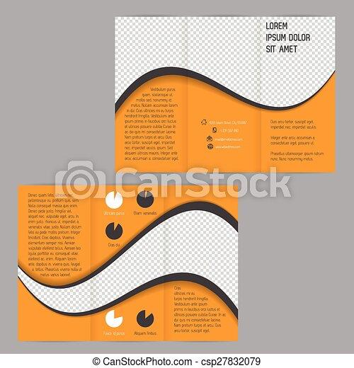 Fresco diseño de ondas tri-ple folleto de folletos - csp27832079