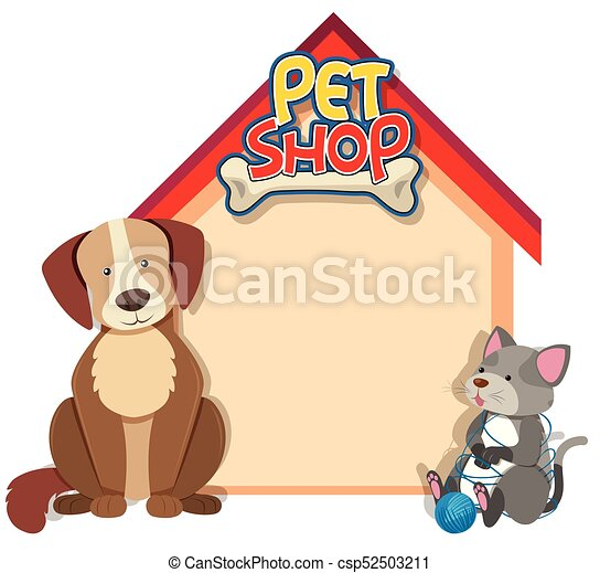 La plantilla fronteriza con perro y gato - csp52503211