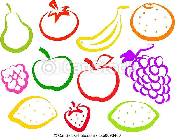 iconos de fruta - csp0093460