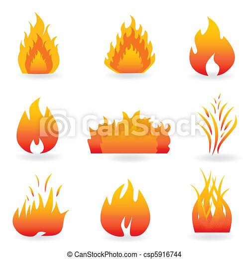 Simbolos de fuego y llamas - csp5916744