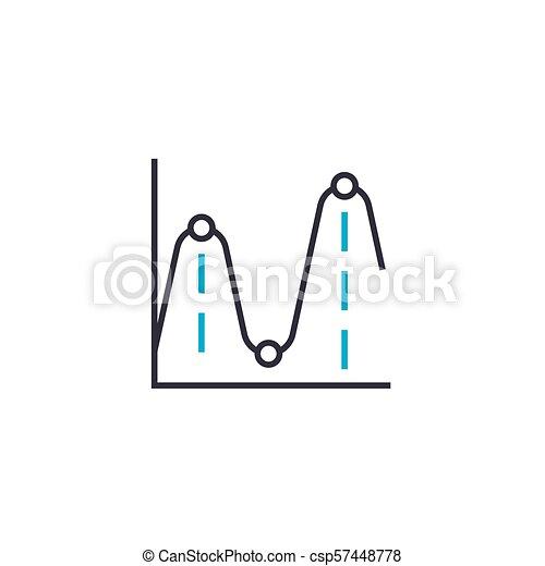 Extremums de la función vector delgada línea de icono. Extremums de la función ilustración, signo lineal, concepto de símbolo. - csp57448778
