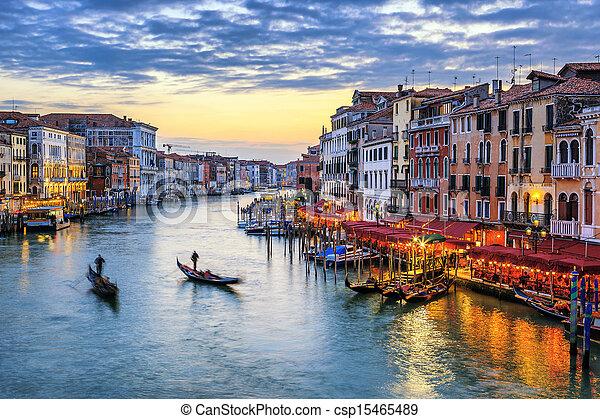 Gondolas al atardecer en Venecia - csp15465489