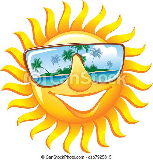 Sol alegre con gafas de sol - csp7925815