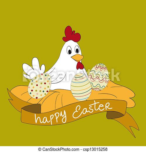 Feliz gallina del este con huevos - csp13015258