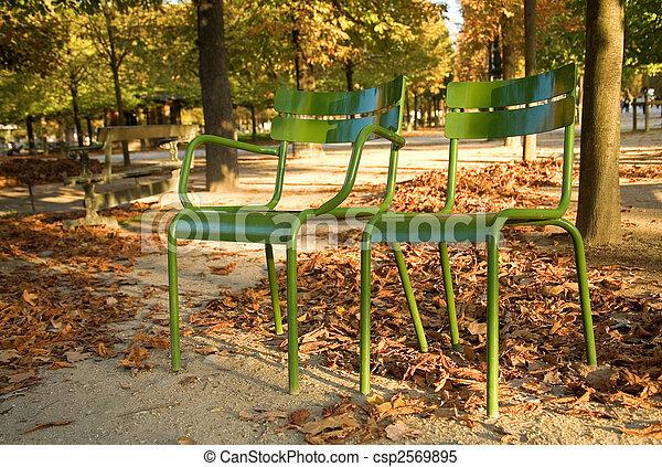 Otoño en París. Típicas sillas parisinas en el Jardín Luxemburgo. París, Francia - csp2569895