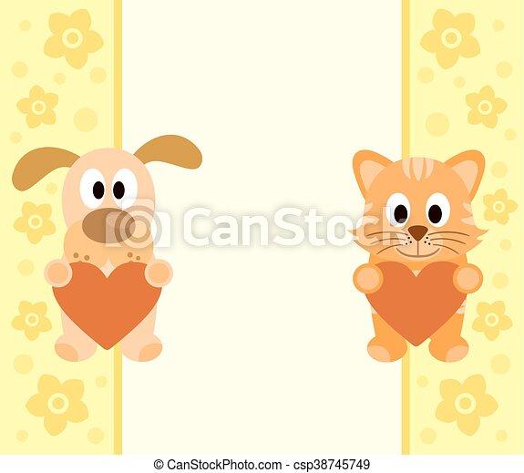 Antecedentes con perros de dibujos animados, gato - csp38745749