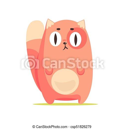 Gato rojo divertido con ojos grandes, lindo dibujo animado vector de caracter de animal Illustración - csp51826279