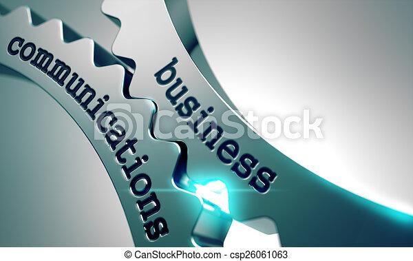 Comunicaciones de negocios sobre engranajes de metal. - csp26061063