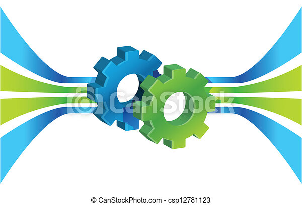 Gears en movimiento y líneas, proceso de negocios - csp12781123