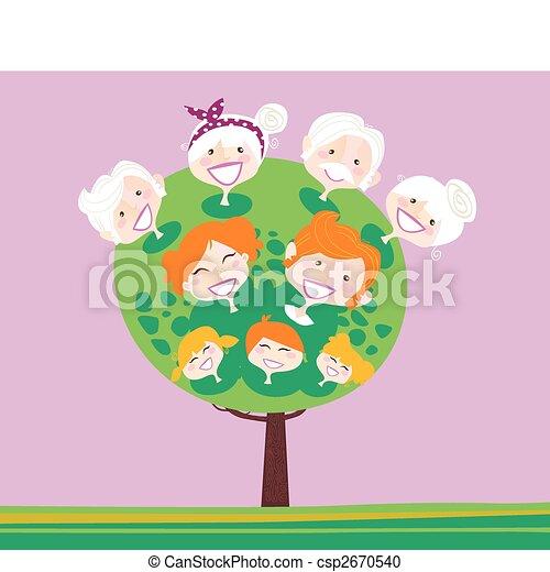 Triple generación de árbol genealógico - csp2670540