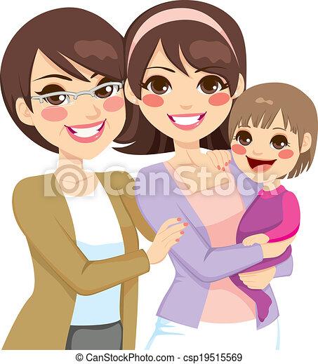 Familia de tres generaciones jóvenes - csp19515569