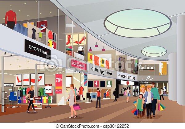 Gente comprando en un centro comercial - csp30122252