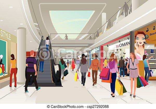 Gente comprando en un centro comercial - csp27292088