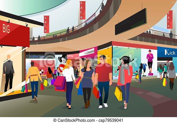 gente, alameda, vector, compras, ilustración - csp79539041
