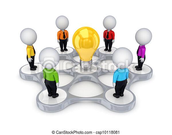 3 personas pequeñas alrededor del símbolo de ideas. - csp10118081