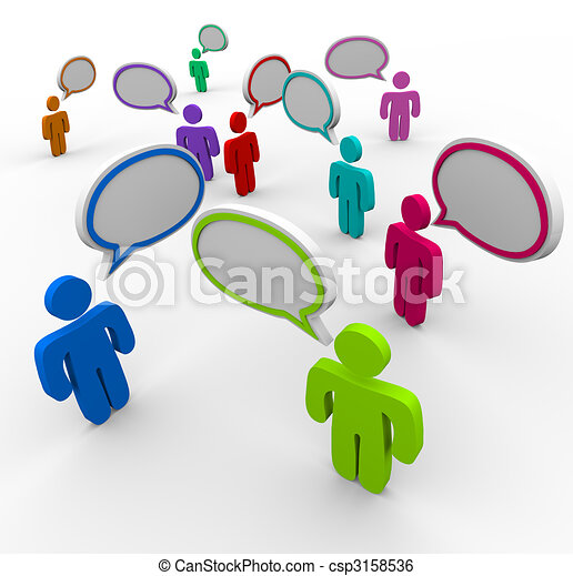 Comunicación desorganizada, gente que habla a la vez - csp3158536