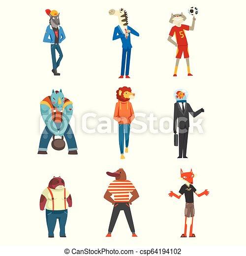 Gente con cabezas de animales listas, lobos, cebras, gatos, castores, rinocerontes, leones, peces, personajes de zorro que visten ropas de moda vectores de ilustración en un fondo blanco - csp64194102