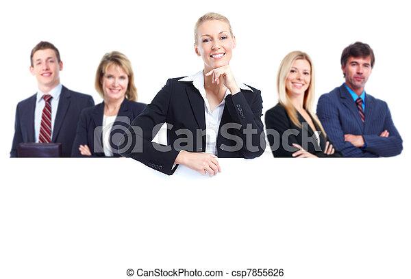 Gente de negocios con estandarte. - csp7855626