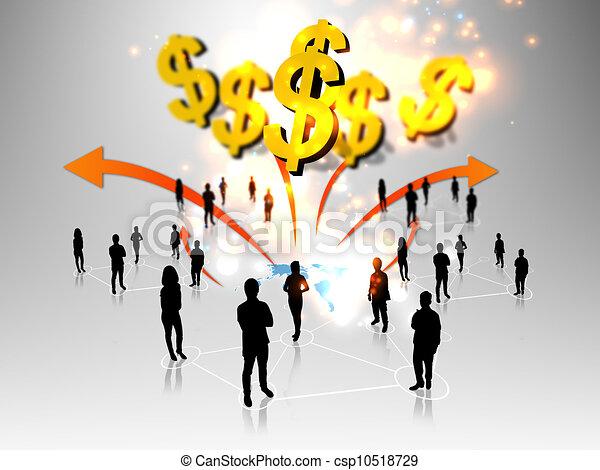 Gente de negocios con mundo de negocios - csp10518729