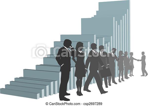 Gente de negocios con un gráfico de crecimiento - csp2697289