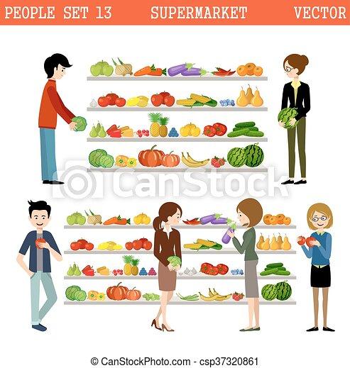 Gente en un supermercado con compras. - csp37320861
