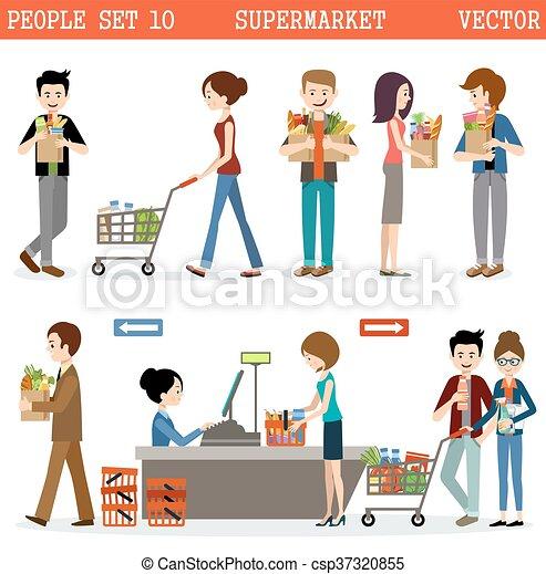 Gente en un supermercado con compras - csp37320855
