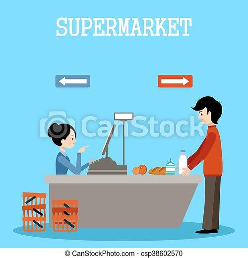 Gente en un supermercado con compras - csp38602570