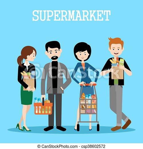 Gente en un supermercado con compras - csp38602572