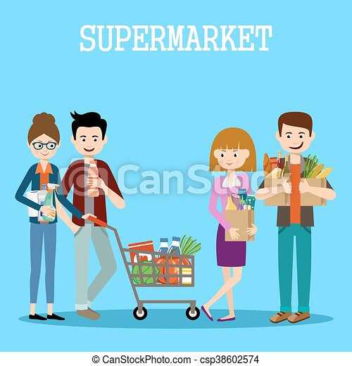 Gente en un supermercado con compras - csp38602574