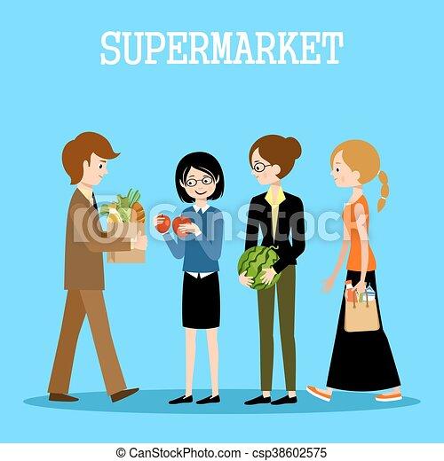 Gente en un supermercado con compras - csp38602575