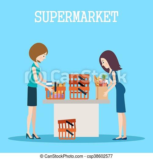 Gente en un supermercado con compras - csp38602577