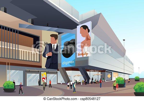 gente, exterior, compras, ilustración, alameda - csp80548127